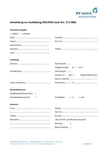 Anmeldung zur Ausbildung DHF/DHA nach Art. 17.5 BBG - KV Luzern