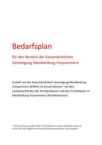 Bedarfsplan für den Bereich der KVMV (Konsenspapier)_12112013