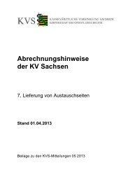 Abrechnungshinweise der KV Sachsen - Kassenärztliche ...