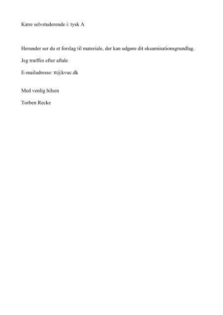 Kære selvstuderende i: tysk A Herunder ser du et forslag til ... - KVUC