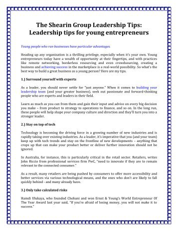The Shearin Group Leadership Tips: Leadership tips for young entrepreneurs
