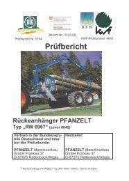 """Prüfbericht Rückeanhänger PFANZELT Typ """"RW 0967"""" (zuvor 0842)"""