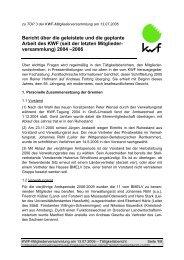 Bericht über die geleistete und die geplante Arbeit des KWF (seit der ...