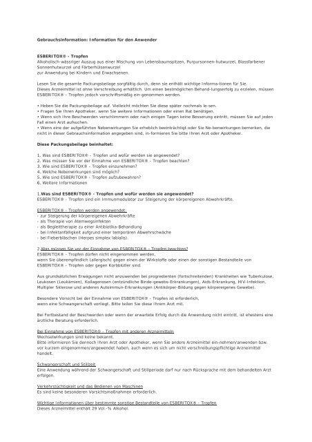 Gebrauchsinformation: Information für den Anwender ESBERITOX ...