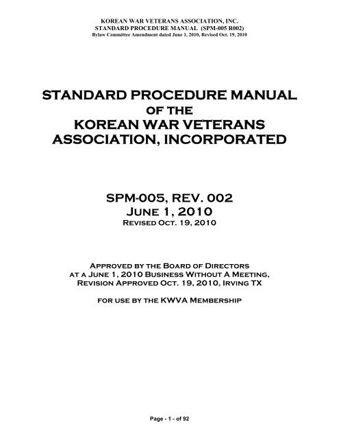 STANDARD PROCEDURE MANUAL of the KOREAN WAR ...