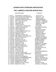 the Honor Roll List - Korean War Veterans Association
