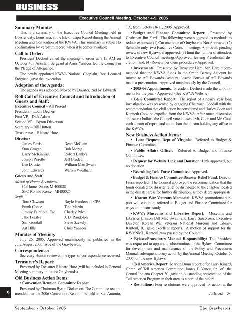 Sep/Oct 2005 - Korean War Veterans Association