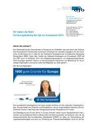 Wir haben die Wahl: Forderungskatalog des djb zur Europawahl 2014