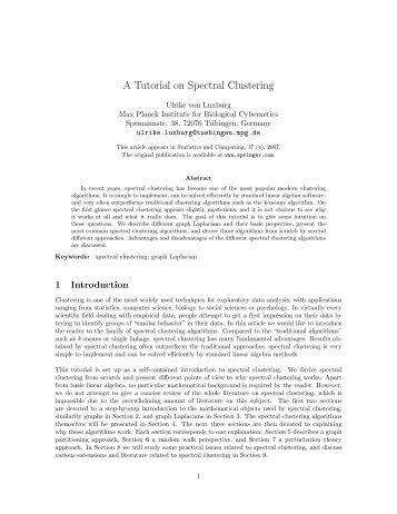 A Tutorial on Spectral Clustering - Max Planck Institute for Biological ...