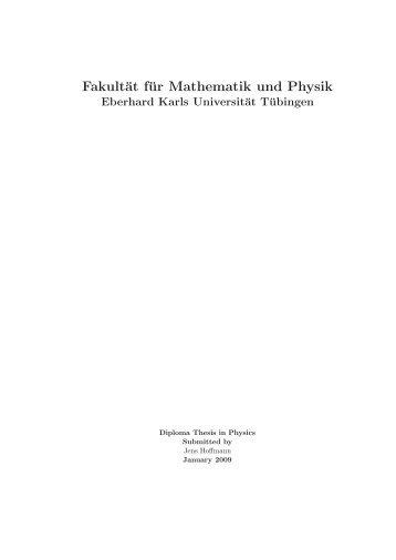 Fakultät für Mathematik und Physik - Max Planck Institute for ...
