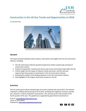 JSB Market Research: Construction in the UK Key Trends and Opportunities to 2018