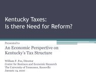 Kentucky Taxes: Is there Need for Reform? - Kentucky State Treasury