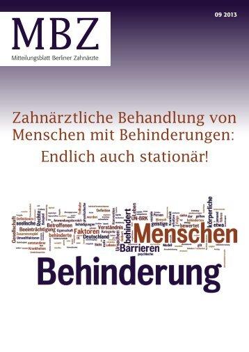 MBZ Ausgabe 09/2013 - Zahnärztekammer Berlin