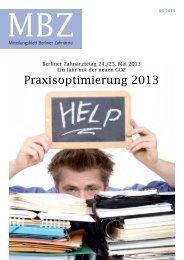 MBZ Ausgabe 05/2013 - Zahnärztekammer Berlin