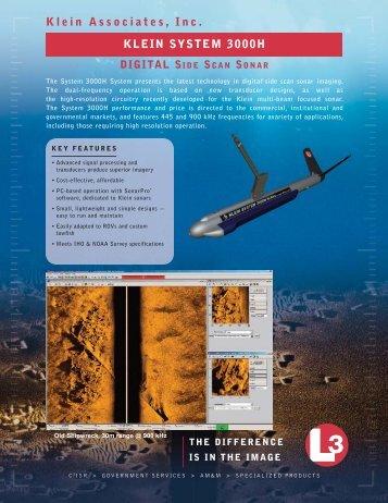 L-3 Klein System 3000H Digital Side Scan Sonar (Click here for PDF)
