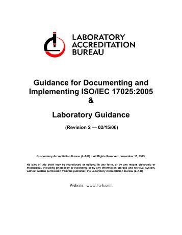 Guidance for Documenting and Implementing ISO/IEC 17025:2005 ...