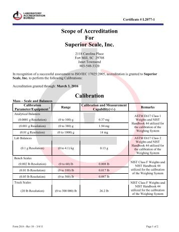 Scope Of Accreditation ISO/IEC 17025:2005 - Superior Scale, Inc.