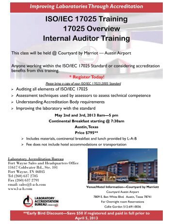 ISO/IEC 17025 Training 17025 Overview Internal Auditor Training