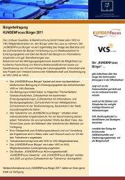 Bürgerbefragung KUNDENFocus Bürger 2011 - L·Q·M Marktforschung