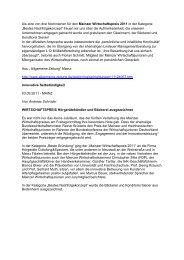 Als eine von drei Nominierten für den Mainzer Wirtschaftspreis 2011 ...