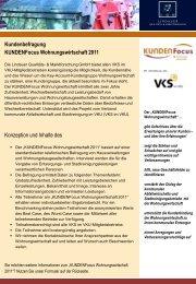 Kundenbefragung KUNDENFocus Wohnungswirtschaft 2011 ...