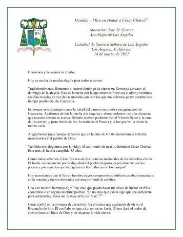 Homilía – Misa en Honor a César Chávez / 4 Domingo de Cuaresma
