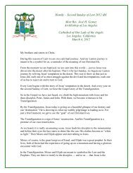 Homily – Second Sunday of Lent 2012 - Archdiocese of Los Angeles
