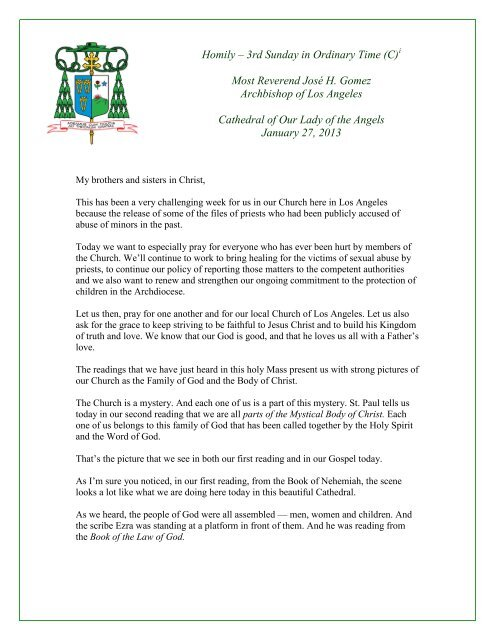 Homily: 3rd Sunday in Ordinary Time (C) - Archdiocese of Los Angeles