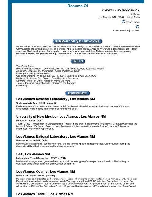 resume of unm los alamos university of new mexico