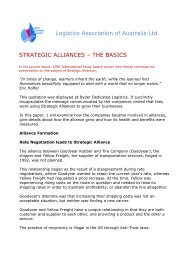 Logistics Association of Australia Ltd STRATEGIC ALLIANCES ...