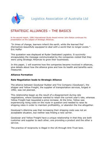 international strategic alliance For most strategic alliances, the companies involved have the ability to reach further out within a prospective customer pool - let's not forget the co-branded marketing content.