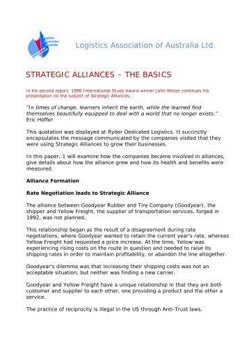 Logistics Association of Australia Ltd STRATEGIC ALLIANCES ...