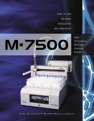 CETACQ uick T race ™ M - 7 5 0 0 M ercury A nalyzer High