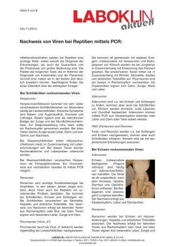 Nachweis von Viren bei Reptilien mittels PCR - Laboklin