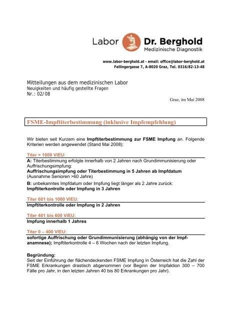 Fsme Impftiterbestimmung Labor Dr Berghold