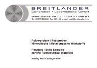Pulverproben / Festproben Mineralische / Metallurgische Werkstoffe ...