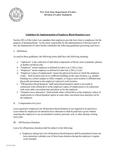 Guidelines for Implementation of Employee Blood Donation