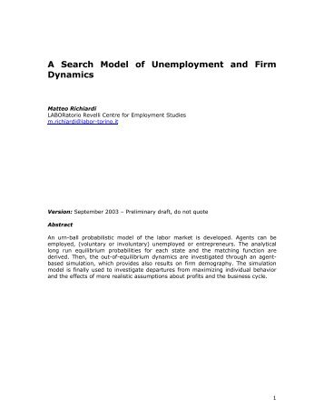 A Search Model of Unemployment and Firm Dynamics