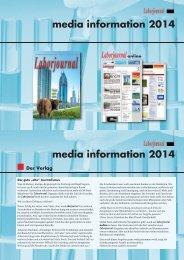 Die aktuellen Mediadaten des Laborjournal finden Sie hier als PDF ...