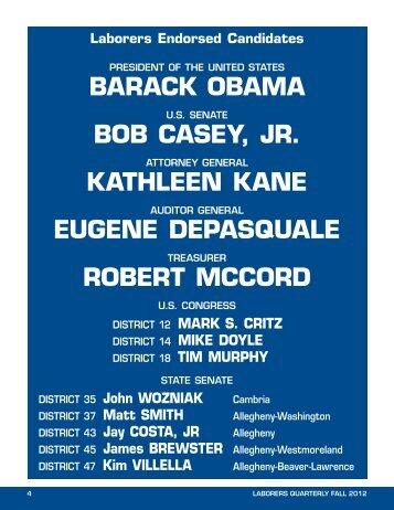 barack obama bob casey, jr. kathleen kane eugene depasquale ...