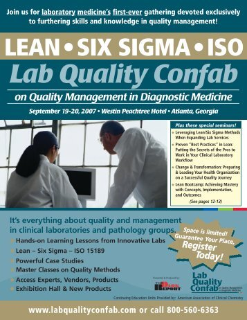 Join us for laboratory medicine's first-ever gathering - Lab Quality ...
