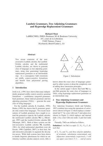 Lambek Grammars, Tree Adjoining Grammars and ... - LaBRI