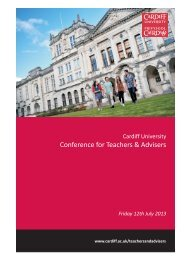 Conference for Teachers & Advisers - Cardiff University