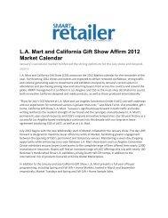 L.A. Mart and California Gift Show Affirm 2012 Market Calendar