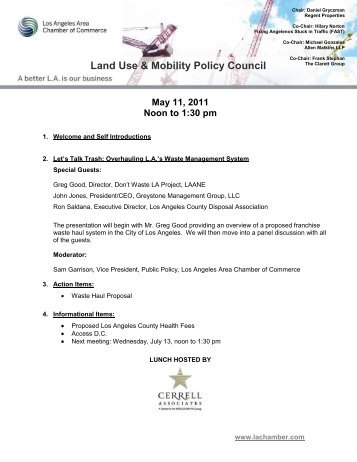 Land Use & Mobility Policy Council - Los Angeles Chamber of ...