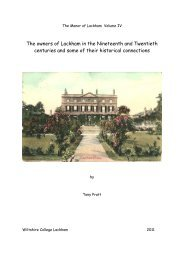 The owners of Lackham in the Nineteenth and Twentieth centuries ...