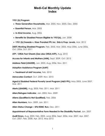 Medi-Cal Monthly Update Index