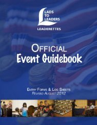 Event Entry Forms - Lads to Leaders