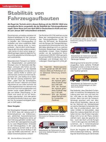 Stabilität von Fahrzeugaufbauten - Ladungssicherung.de
