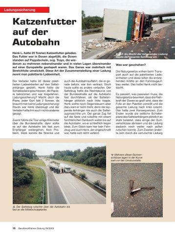 Katzenfutter auf der Autobahn - Ladungssicherung.de